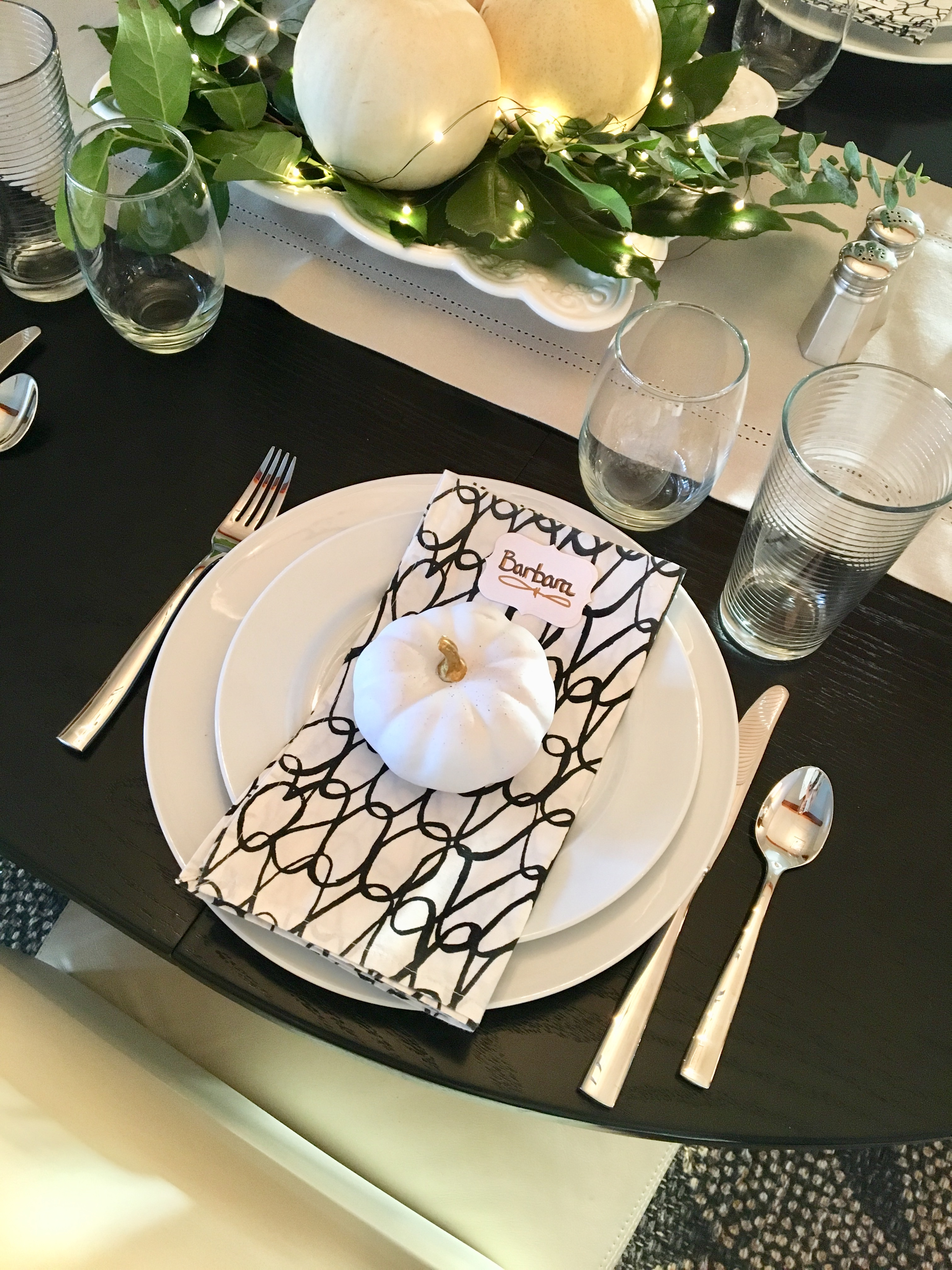 Thanksgiving 2017 table place setting.