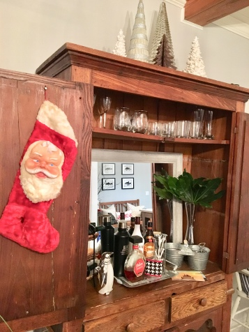 2017 Christmas dining room hutch bar